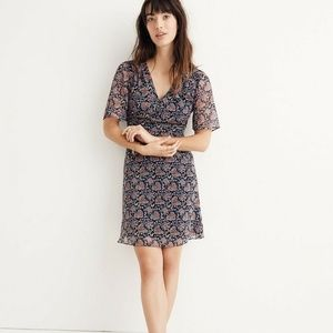 Madewell 6 Orchard Flutter-Sleeve Dress Blue Flora